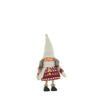Decorative white wool doll with spring movement
