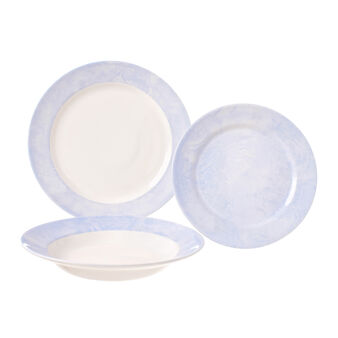 18-piece dinner service in brushed-effect ceramic