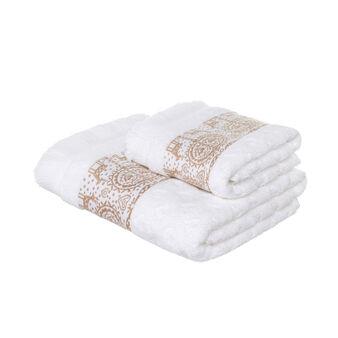 Set asciugamano viso e ospite in spugna di puro cotone motivo cuori