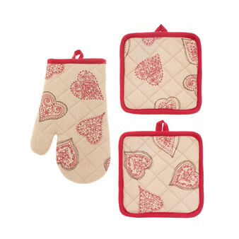 Set with oven glove and two pot holders with Fancy Hearts print