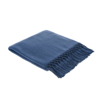 Fleece throw with woven decoration