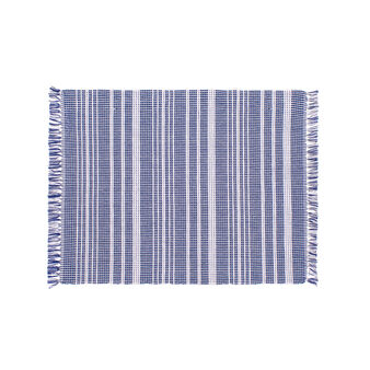 Table mat in 100% cotton with striped ribbing