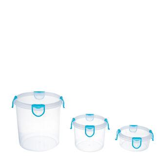 Set 3 contenitori tondi con coperchio