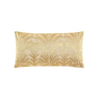 Coated-effect damask cushion