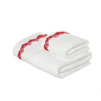 Set asciugamano viso e ospite in spugna di puro cotone con bordo in pizzo