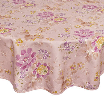 Round cotton tablecloth with shadow-effect flower print