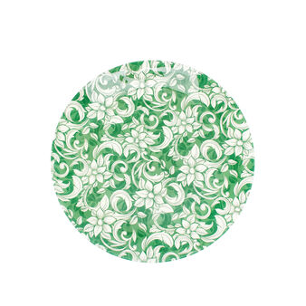 Glass serving platter with floral decoration