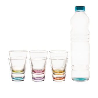 Set of 6 water tumblers and glass bottle