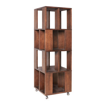 Book, wooden bookcase on castors