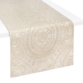 Antoine table runner in linen and cotton jacquard