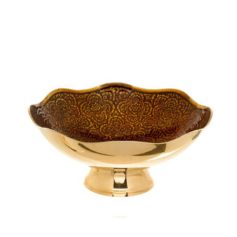 Bowl in brass with floral decoration