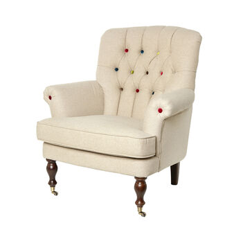 Bergere chair with coloured buttons