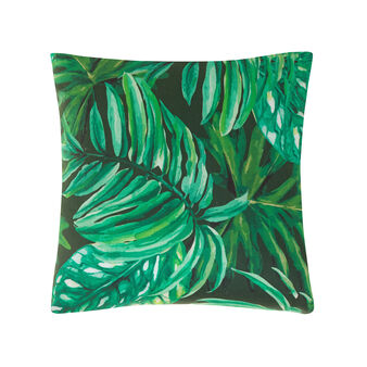 100% cotton cushion with tropical leaves print