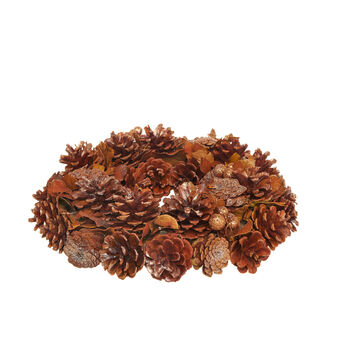 Wreath with natural pine cones with glitter
