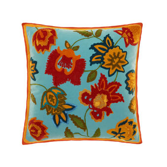 Cushion with chain-stitch floral embroidery