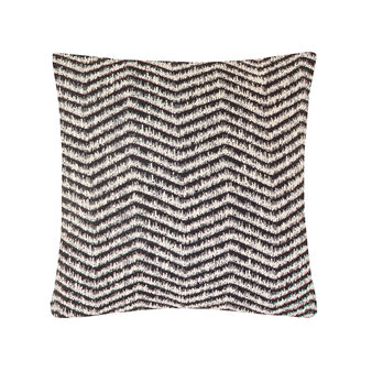 Jacquard cotton blend cushion with zigzag pattern