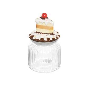 Optical glass jar with ceramic lid.