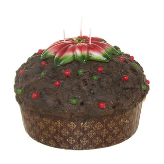 Panettone candle with chocolate and Christmas star