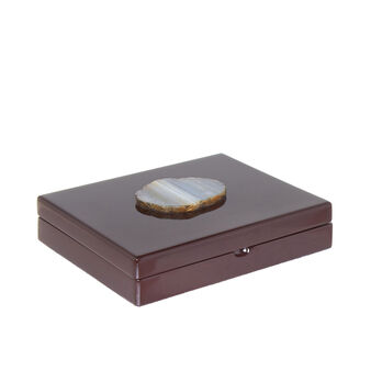 Brown lacquered trinket box