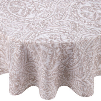 100% cotton round tablecloth with damask print