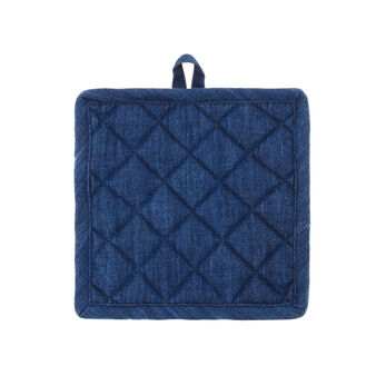 Quilted denim pot holder