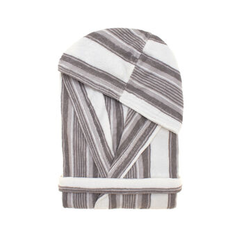 100% cotton terry bathrobe with grey and white stripes