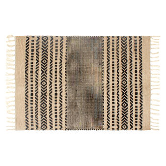 Jute and cotton ethnic style kitchen mat
