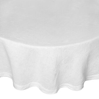 Round tablecloth in 100% linen with openwork hem
