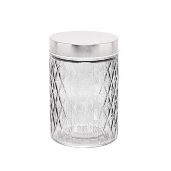 Glass jar with diamond-shaped grooves