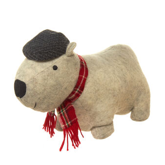Dog doorstop with hat