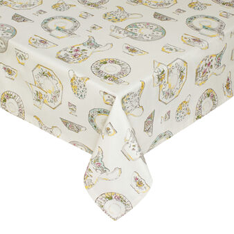 Cotton tablecloth and napkins set with Crockery print