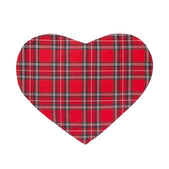 Tovaglietta a cuore tinta in filo tartan scozzese