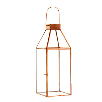 Lantern in copper metal and glass with hook