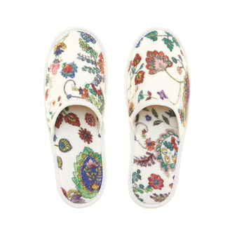 Floral terry velour slippers in 100% cotton