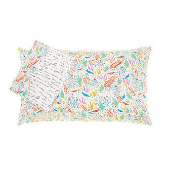 Multi-coloured patterned duvet cover set in cotton satin