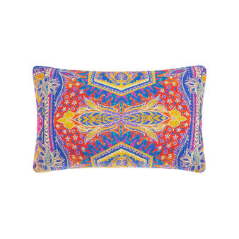 Cotton percale rectangular cushion with foulard print