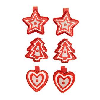 Set of 6 Christmas pegs in wood