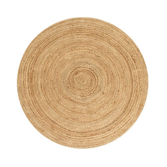 Round rug in knotted jute