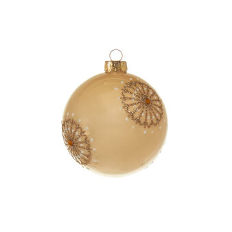 Cream-coloured glass bauble with glitter D 8cm