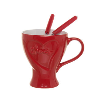 Cup-shaped ceramic fondue set