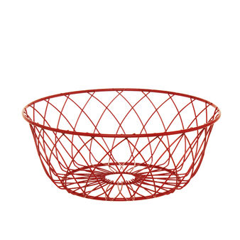 Round basket in red iron