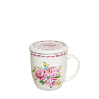New bone china infuser cup with floral decorations