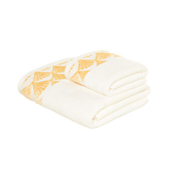 100% cotton towel with gold-coloured edging
