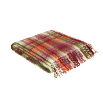 Mohair effect throw with tartan pattern