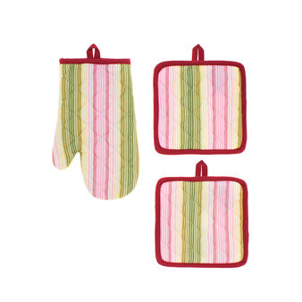 Set of two pot holders and oven mitt in yarn-dyed cotton