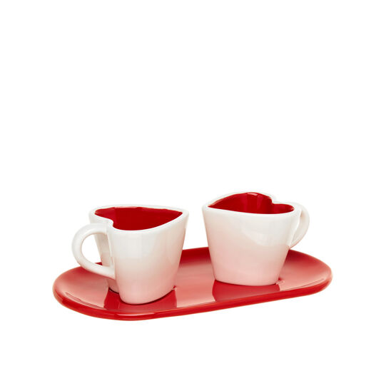 Set of two heart-shaped ceramic coffee cups