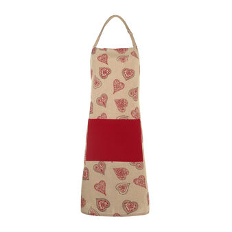 Bib apron with Fancy Hearts print
