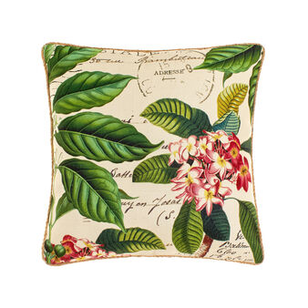 Cushion with tropical flower print