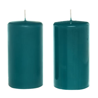 Cylindrical candle in assorted peacock wax