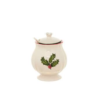Ceramic sugar bowl with holly decoration